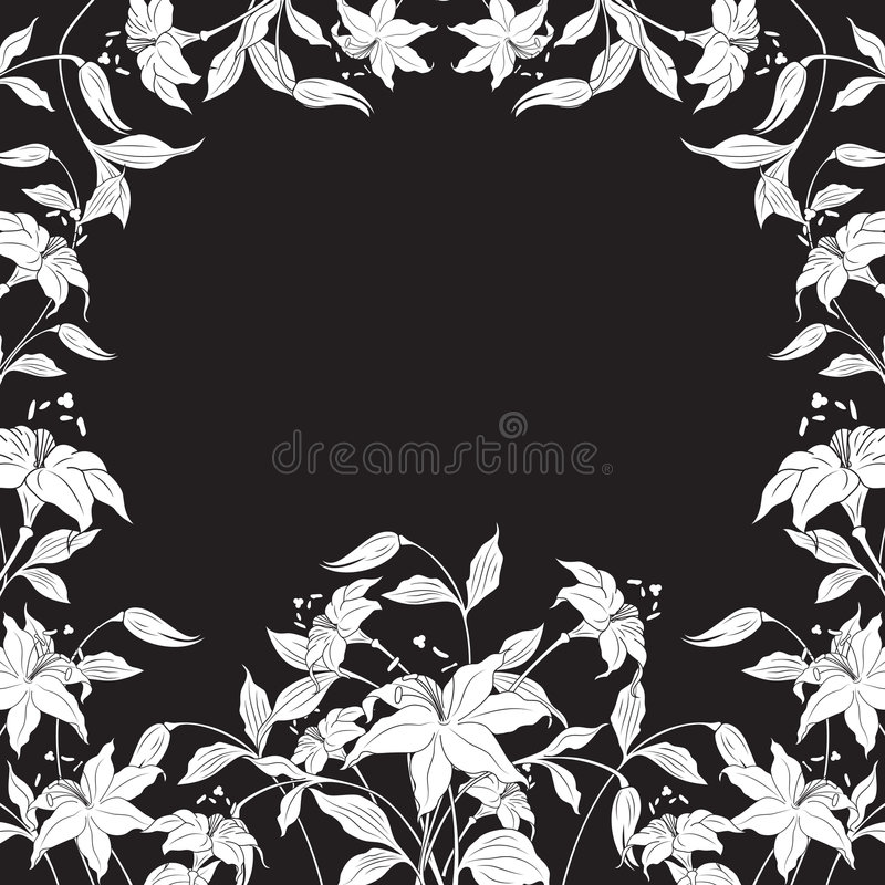 Dekoratives Feld mit Blumen herum, vektorabbildung lizenzfreie abbildung