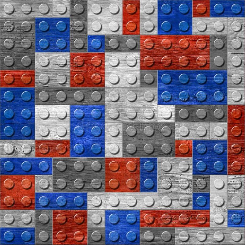 Dekoratives Gebäude berechnet - nahtloser Hintergrund - der rot-blauen Farben stockfoto