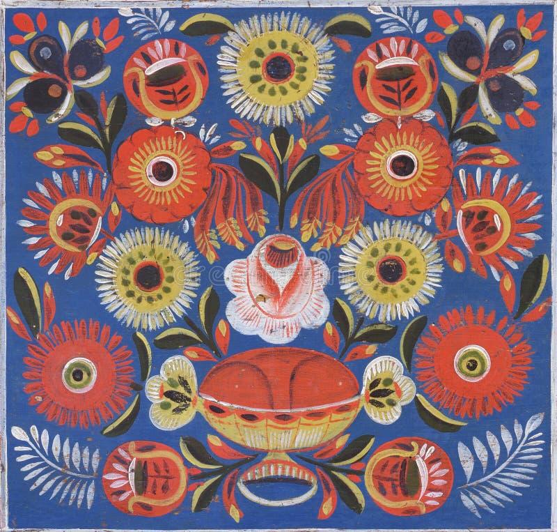 Dekoratives gemaltes Blumenvolksmuster stockbilder