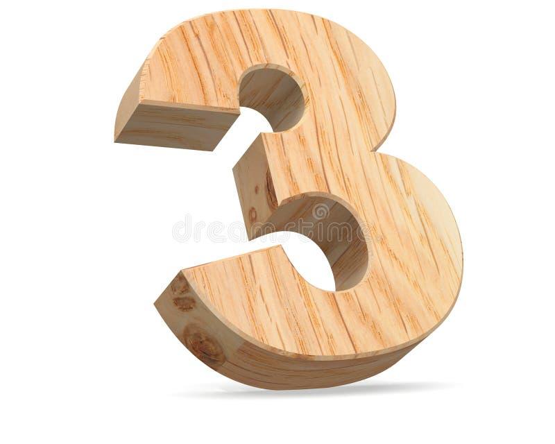 Dekoratives hölzernes Symbol der Alphabetstelle null - 3 Abbildung der Wiedergabe 3d Auf weißem Hintergrund lizenzfreie abbildung
