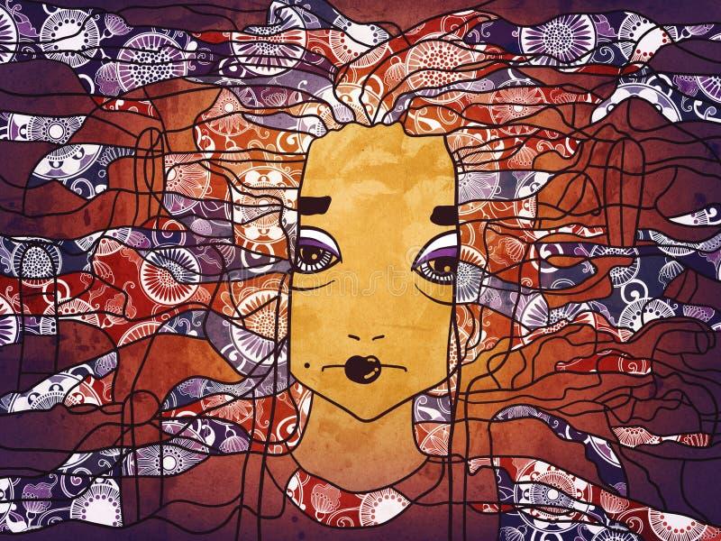 Dekoratives handdrawn Porträt einer Frau stock abbildung