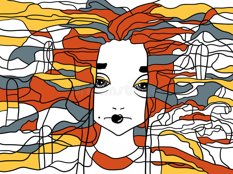 Dekoratives handdrawn Porträt einer Frau lizenzfreie abbildung