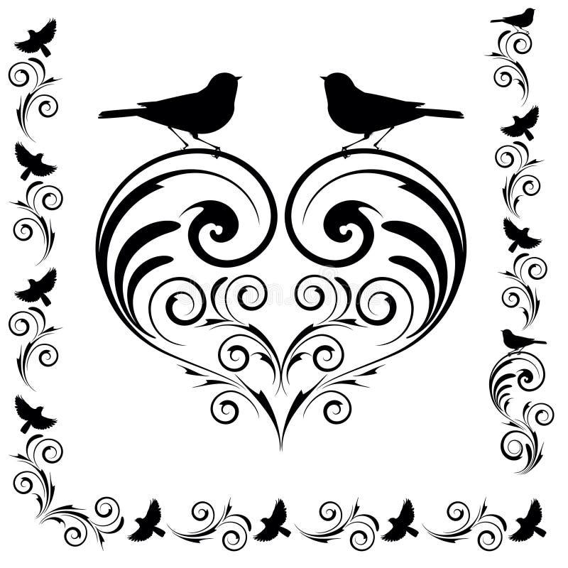 Dekoratives Herz mit Vögeln stock abbildung