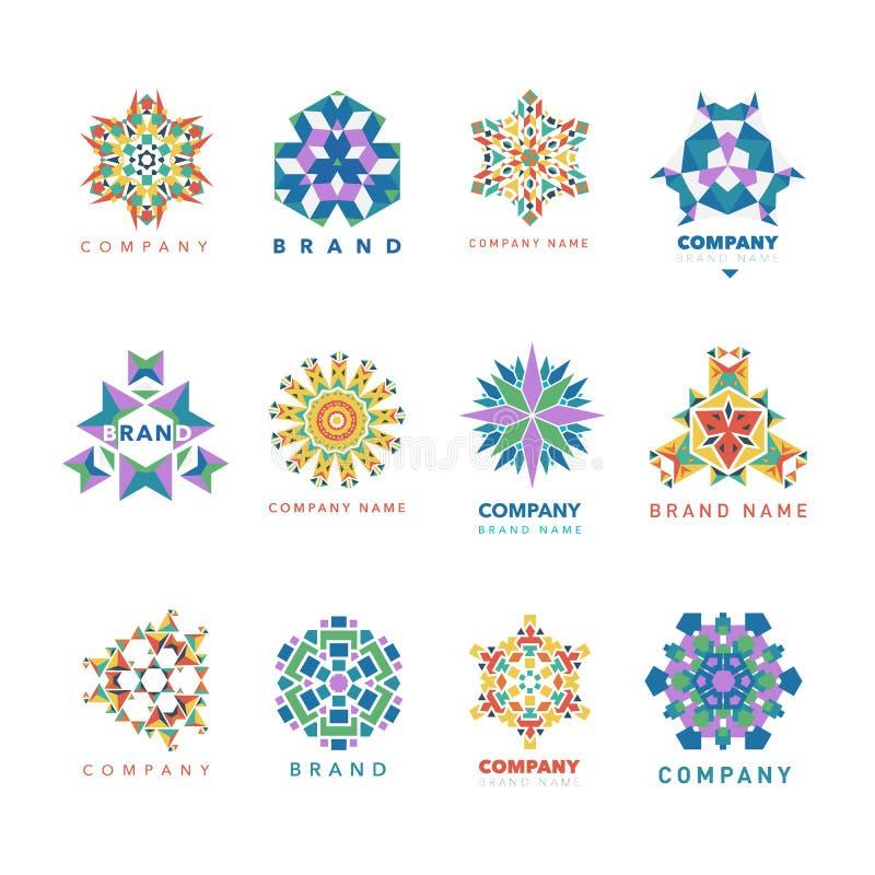 Dekoratives illustation Vektor des abstrakten dreieckigen Kaleidoskoplogoschablonenkreises der polygonalen Form lizenzfreie abbildung