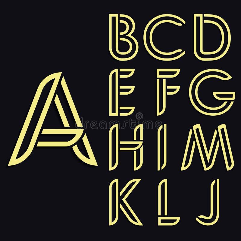 Dekoratives lateinisches Alphabet Gerundete Vektorgoldbuchstaben Art verdünnen Linien Würdevolle Rundungsregister stock abbildung