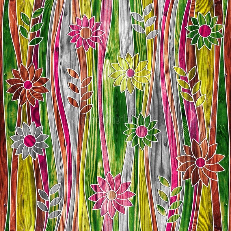 Dekoratives mit Blumenmuster - Wellendekoration - nahtloser Hintergrund vektor abbildung