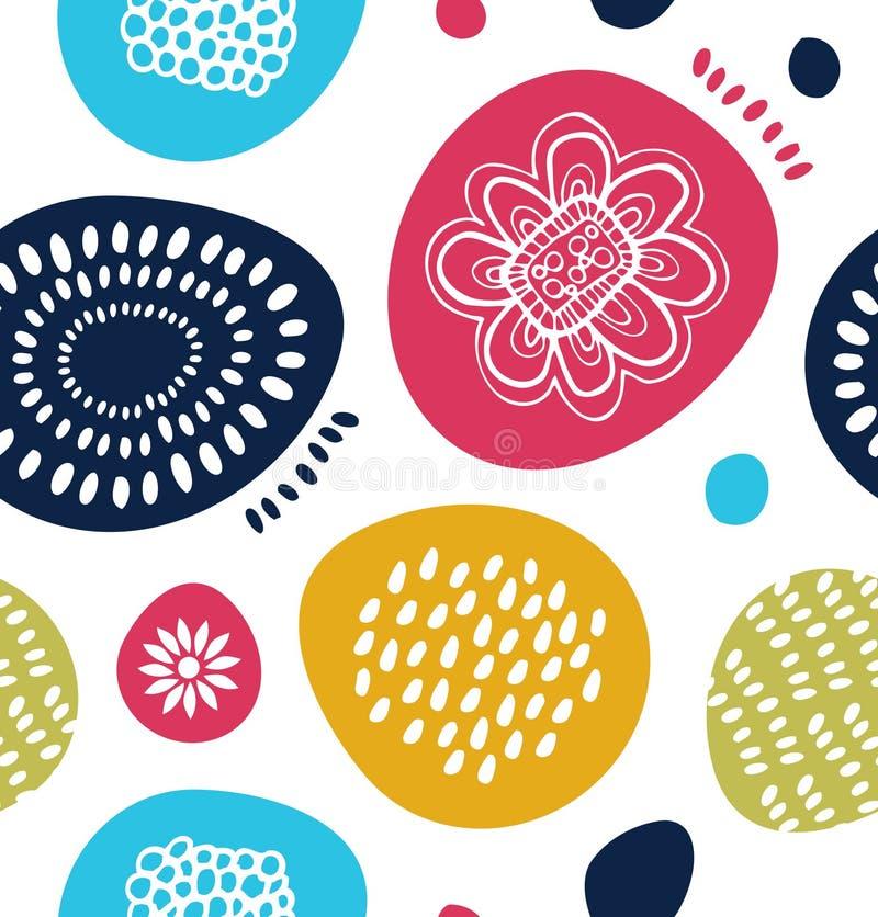 Dekoratives Muster des Vektors in der skandinavischen Art Abstrakter Hintergrund mit bunten einfachen Formen lizenzfreie abbildung