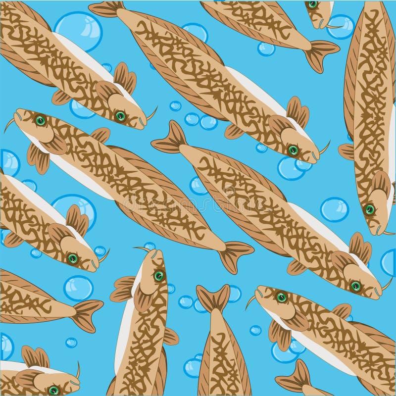 Dekoratives Muster Fische Burbot auf blauem Hintergrund der Drehung vektor abbildung
