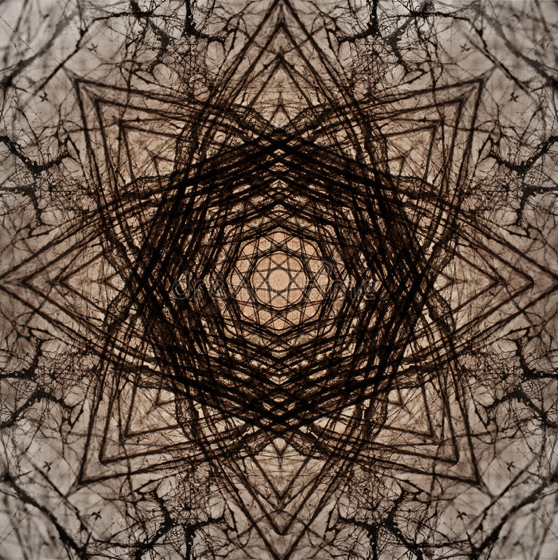 Dekoratives Muster, verschachtelte Linien, die Kombination von Fragmenten von Bildern stockbild