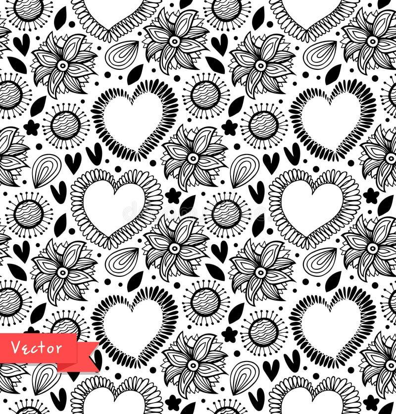Dekoratives nahtloses mit Blumenmuster Schwarzweiss-Vektorhintergrund mit Herzen und Blumen Gewebeweinlesebeschaffenheit stock abbildung