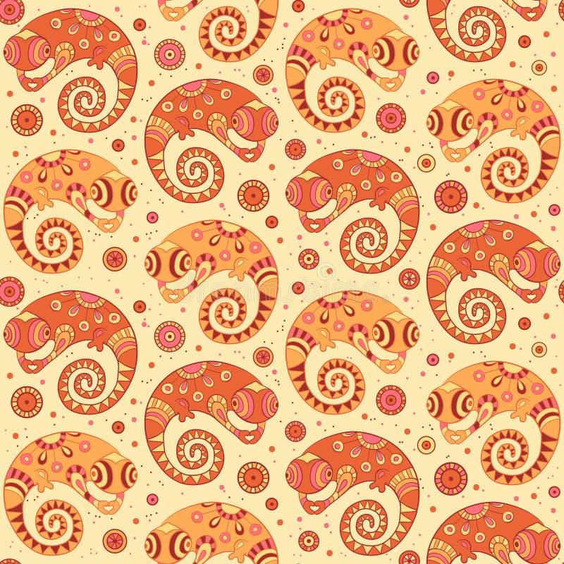 Dekoratives nahtloses Muster der Chamäleone in der Karikatur  vektor abbildung