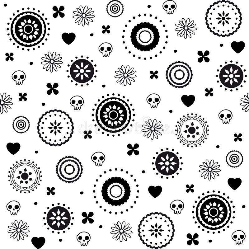 Dekoratives nahtloses Muster der Herzen und der Schädel lizenzfreie abbildung
