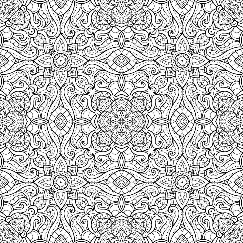 Dekoratives nahtloses Muster der Zusammenfassung, ethnischer Druck, Schwarzweiss, Kaleidoskop, Mandala Beschaffenheit für Tapeten stock abbildung