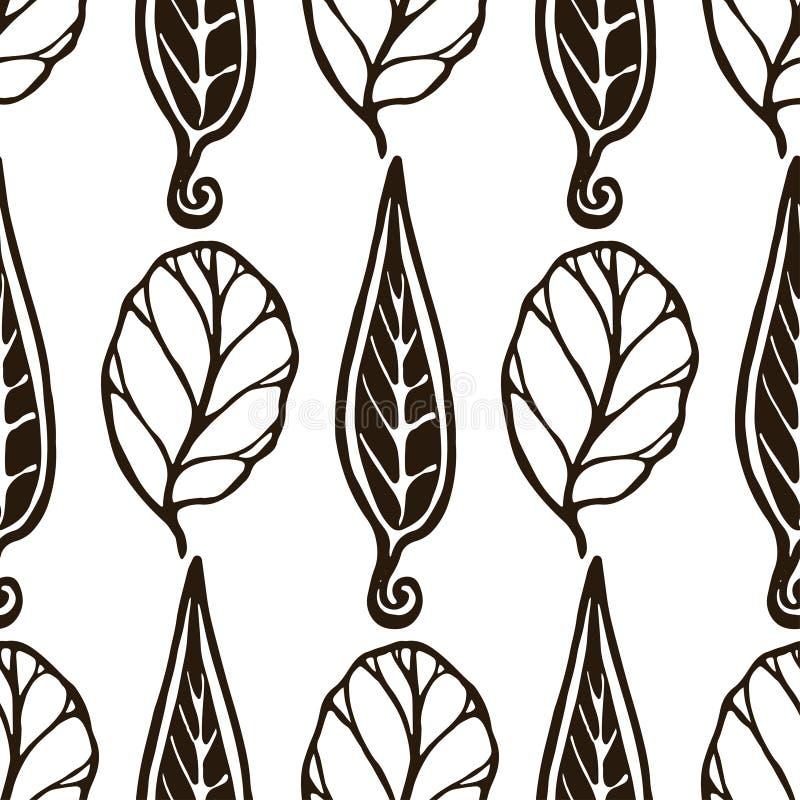 Dekoratives Nahtloses Schwarzweiss-Muster Mit Blättern Endlose ...