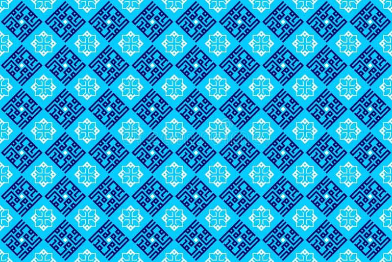 Dekoratives orientalisches arabisches geometrisches Fliesen-Muster in der weichen blauen Farbhintergrund-Tapete stockbilder