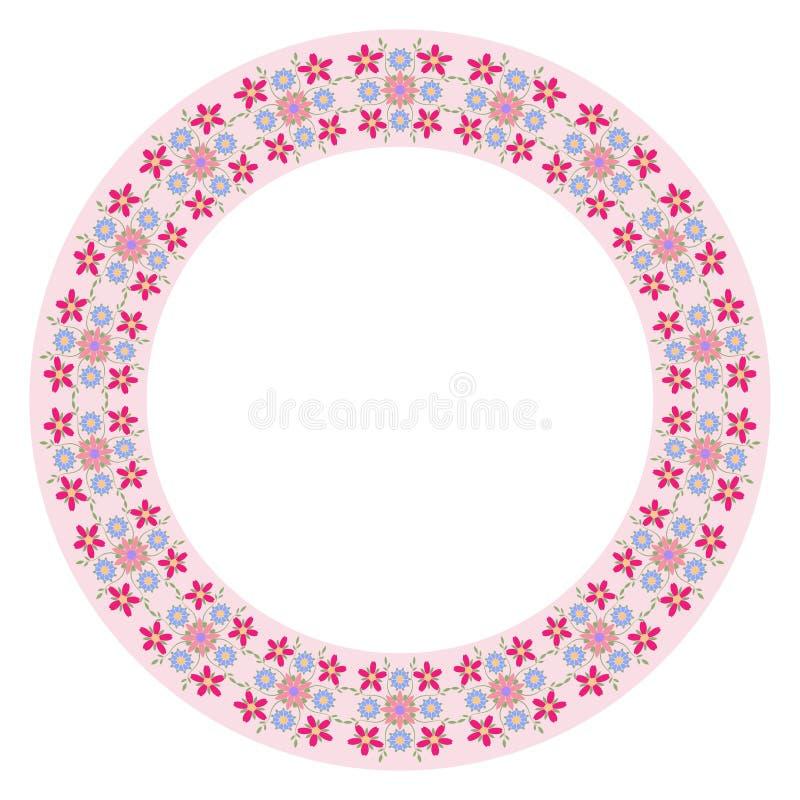 Dekoratives Plattenmuster mit Blumenverzierung in der flachen Art Eine Kreisverzierung f?r Ihr Design lizenzfreie abbildung