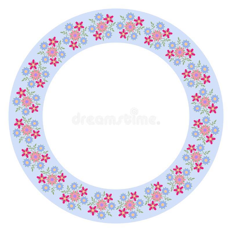Dekoratives Plattenmuster mit Blumenverzierung in der flachen Art Eine Kreisverzierung f?r Ihr Design stock abbildung