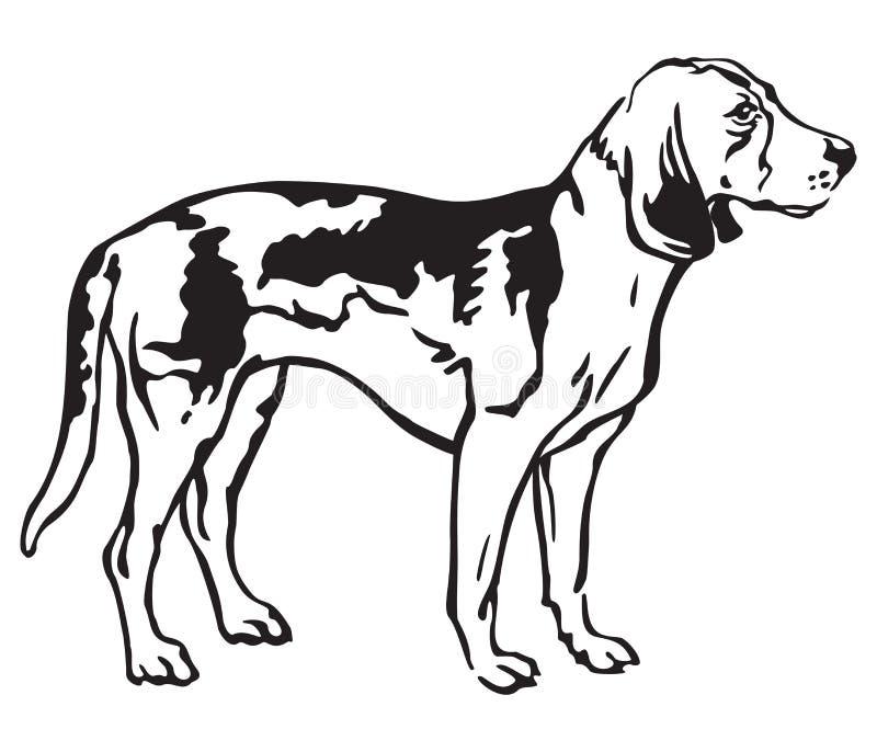 Dekoratives Porträt Hundeder estnischen Jagdhund-Vektorillustration vektor abbildung