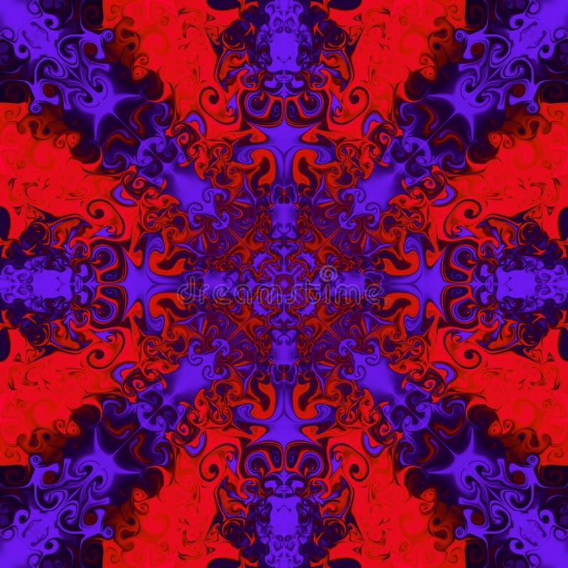 Dekoratives purpurrotes Muster auf hellem rotem Hintergrund lizenzfreie abbildung