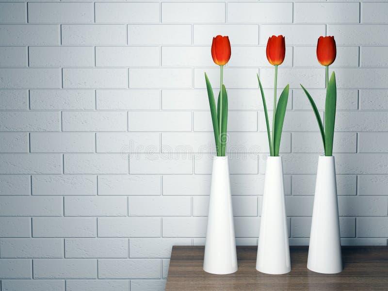 Dekoratives Regal mit Blumen stockfotos