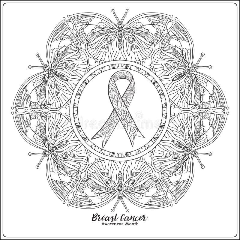Dekoratives rosa Band des Brustkrebs-Bewusstseinsmonats auf decorati lizenzfreie abbildung