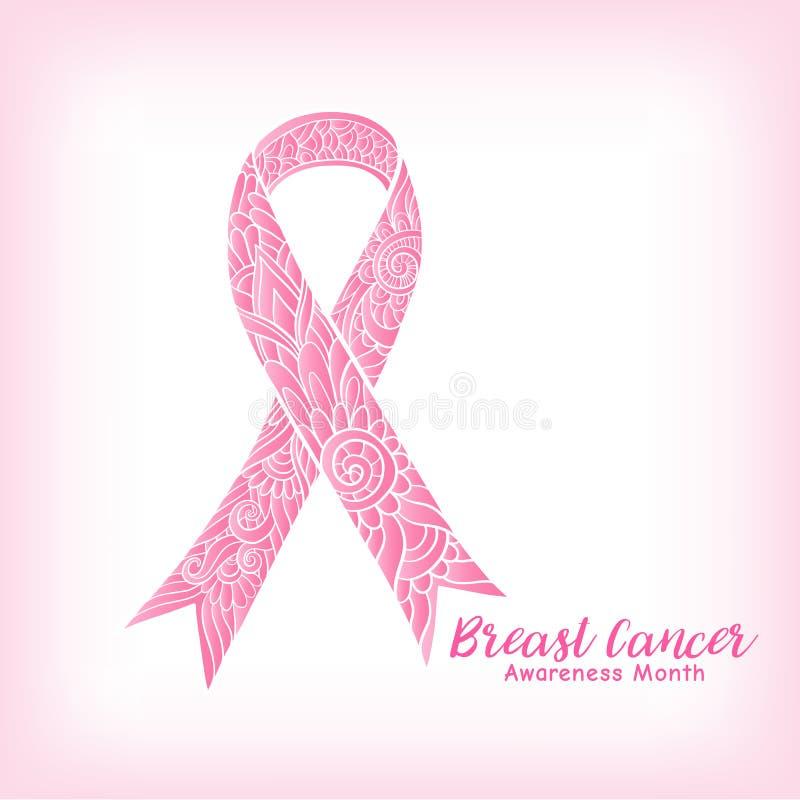 Dekoratives rosa Band des Brustkrebs-Bewusstseinsmonats Linie auf Lager lizenzfreie abbildung