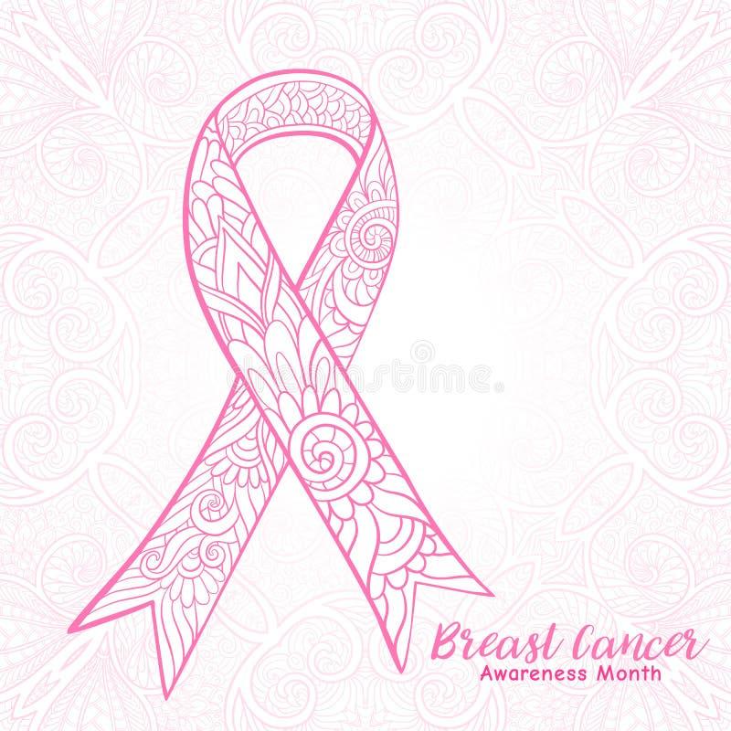 Dekoratives rosa Band des Brustkrebs-Bewusstseinsmonats Linie auf Lager vektor abbildung