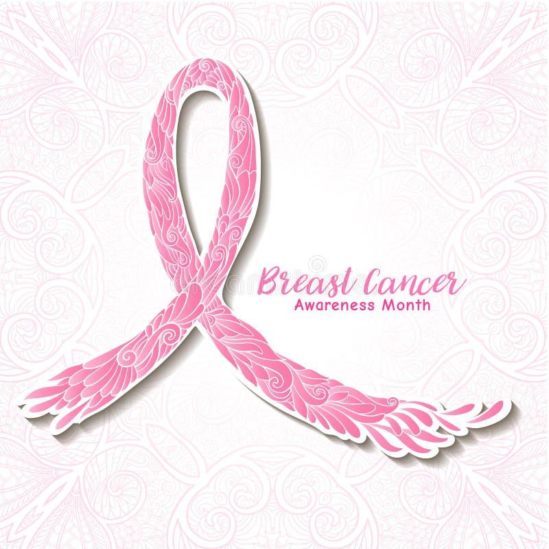 Dekoratives rosa Band des Brustkrebs-Bewusstseinsmonats Linie auf Lager stock abbildung