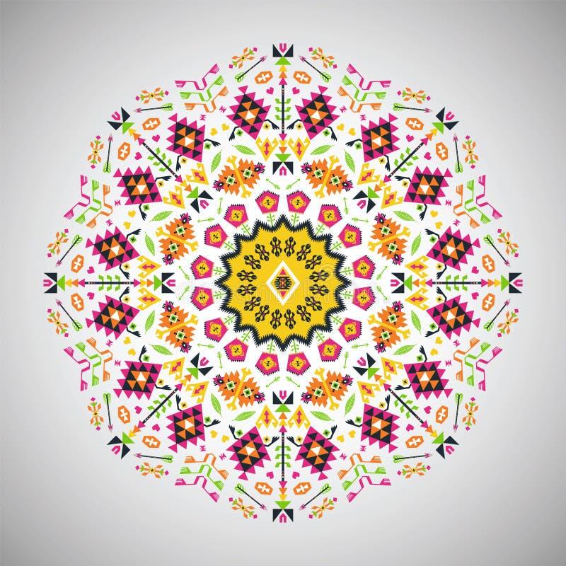Dekoratives rundes buntes geometrisches Muster herein stock abbildung