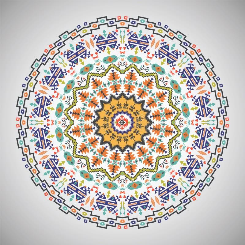 Dekoratives rundes geometrisches Muster in der aztekischen Art lizenzfreie abbildung