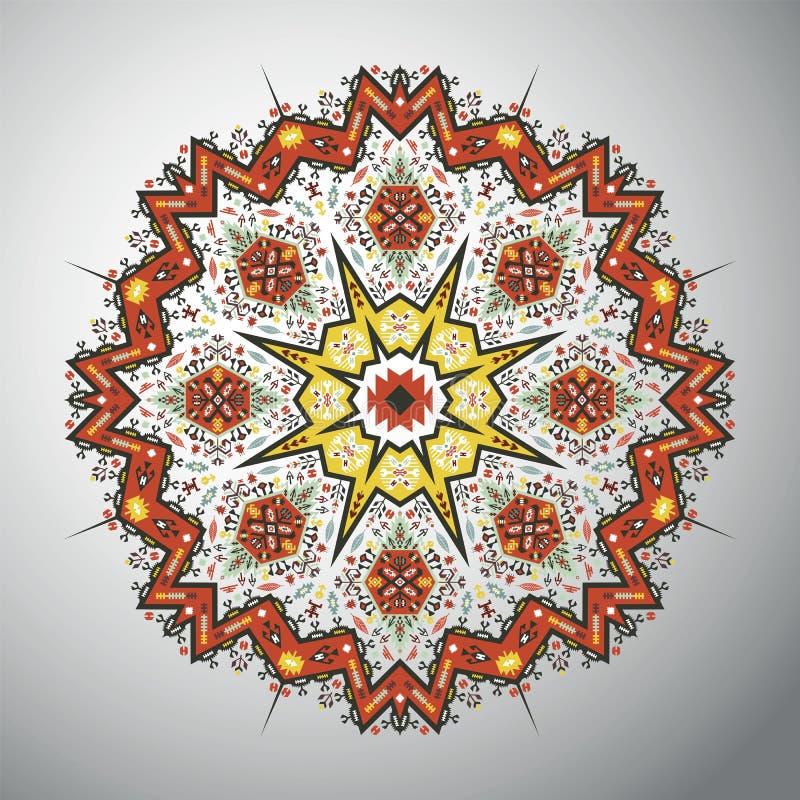 Dekoratives rundes geometrisches Muster in der lateinamerikanischen Art lizenzfreie abbildung
