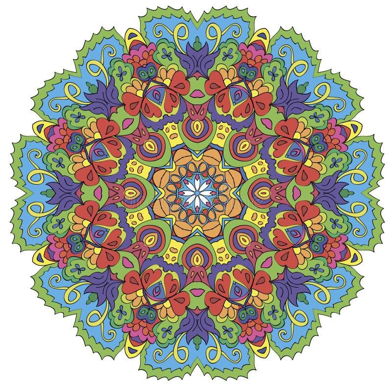 Dekoratives rundes organisches Muster, kreisen bunte Mandala ein stockfoto