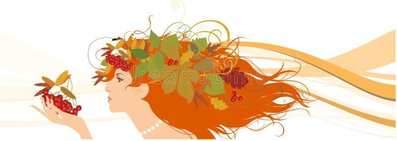 Dekoratives Schattenbild der Frau mit Herbstblättern. lizenzfreie abbildung