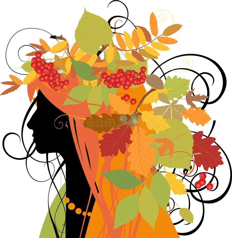 Dekoratives Schattenbild der Frau mit Herbstblättern. vektor abbildung