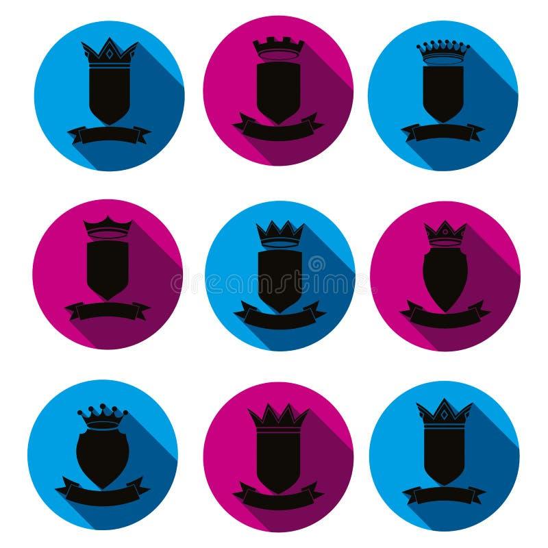 Dekoratives schwarzes Wappen, Schutzthemasymbole Heraldr vektor abbildung
