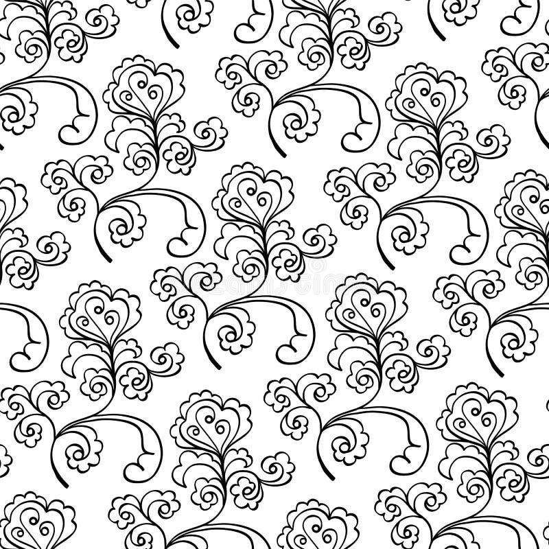 Dekoratives Schwarzweiss-mit Blumenmuster vektor abbildung
