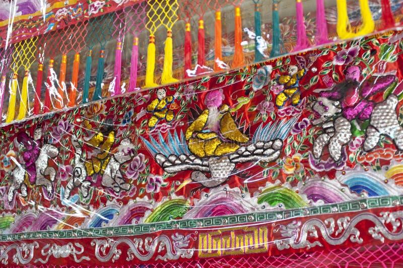 Dekoratives Textilverpackung in einem chinesischen Tempel lizenzfreies stockbild