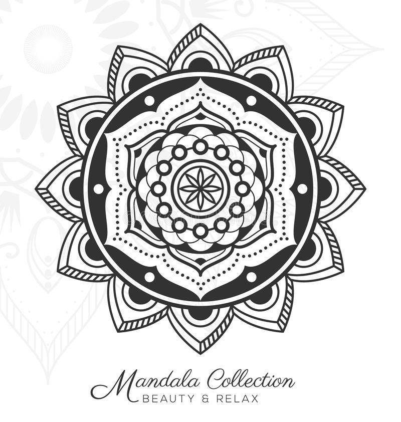 Dekoratives Verzierungsdesign der tibetanischen Mandala lizenzfreie abbildung
