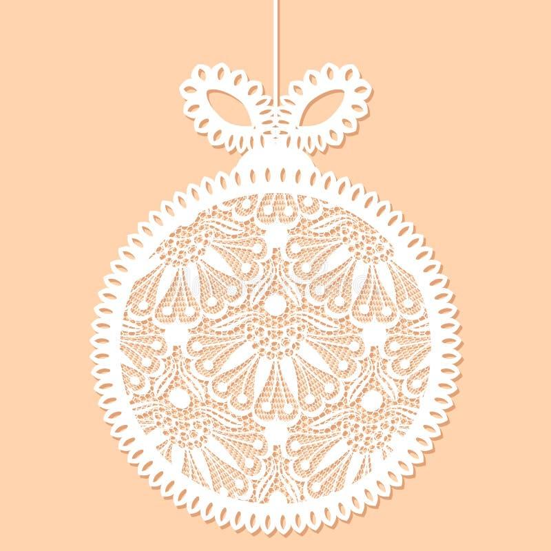 Dekoratives weißes Spitze Weihnachtsballspielzeug stock abbildung