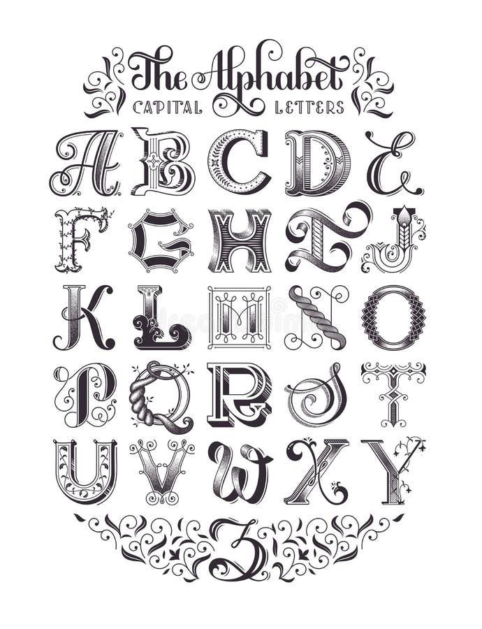 Dekorativt alfabet för vektor Typografisk affisch vektor illustrationer