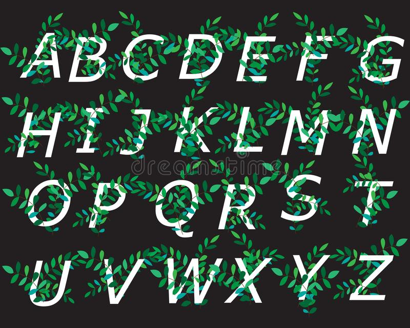 Dekorativt alfabet som dekoreras med gröna filialer för designen av vykort, baner, kort och logoer ocks? vektor f?r coreldrawillu royaltyfri illustrationer