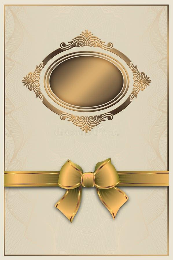 Dekorativt bakgrund eller certifikat med den guld- ramen och pilbågen stock illustrationer