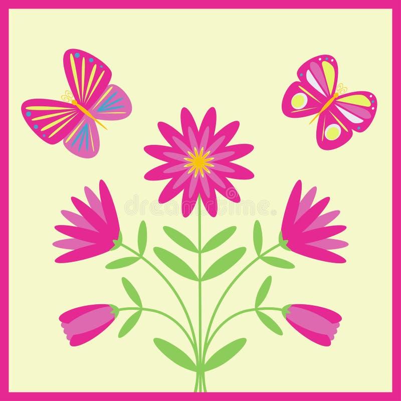 dekorativt blom- för bakgrund stock illustrationer