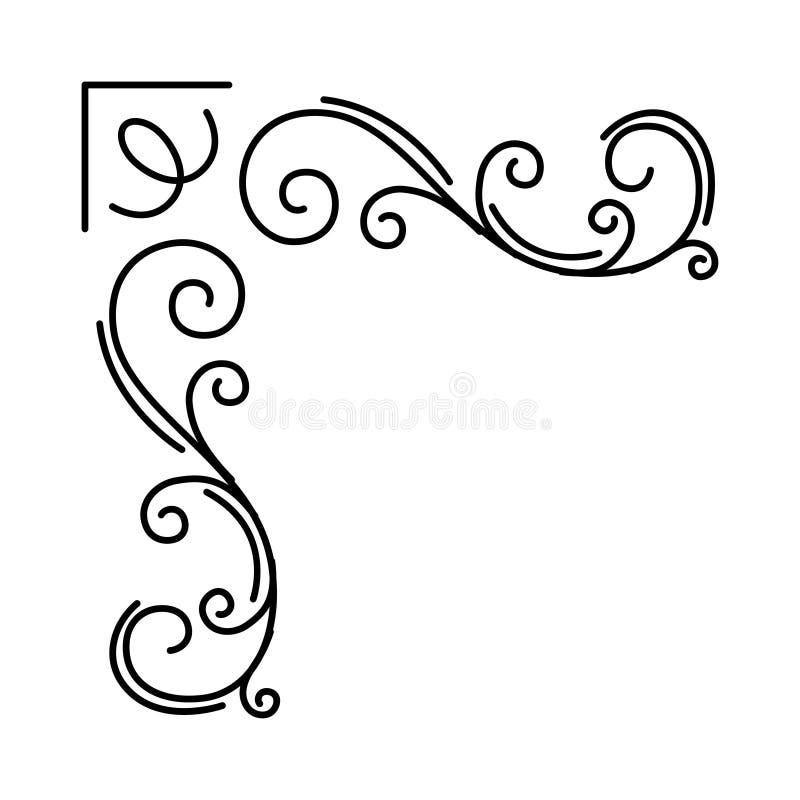 Dekorativt blom- hörn Dekorativ filigranbeståndsdel Virvlar tappningstil Bröllopinbjudan, feriekort vektor vektor illustrationer