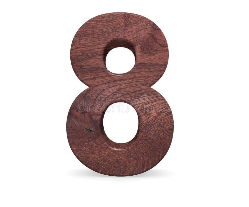 Dekorativt brunt polerat träsymbol för alfabetsiffra åtta - 8 3d som fäster den lätta redigerande mappillustrationen ihop, inklud vektor illustrationer