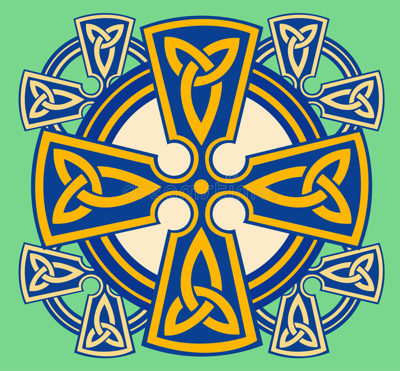 dekorativt celtic kors vektor illustrationer