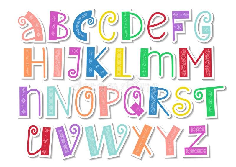 Dekorativt färgrikt latinskt alfabet med virvlar och prydnad i pappers- klippt stil på vit stock illustrationer
