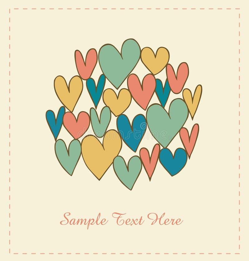 Dekorativt förälskelsebaner med hjärtor i cirkel. Klottra beståndsdelar för scrapbooking, gåvor, konster, hantverk, tryck vektor illustrationer