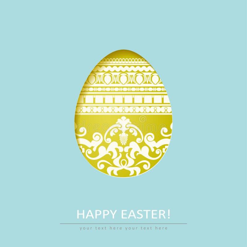Dekorativt för snitt ägg ut på blå bakgrund stock illustrationer