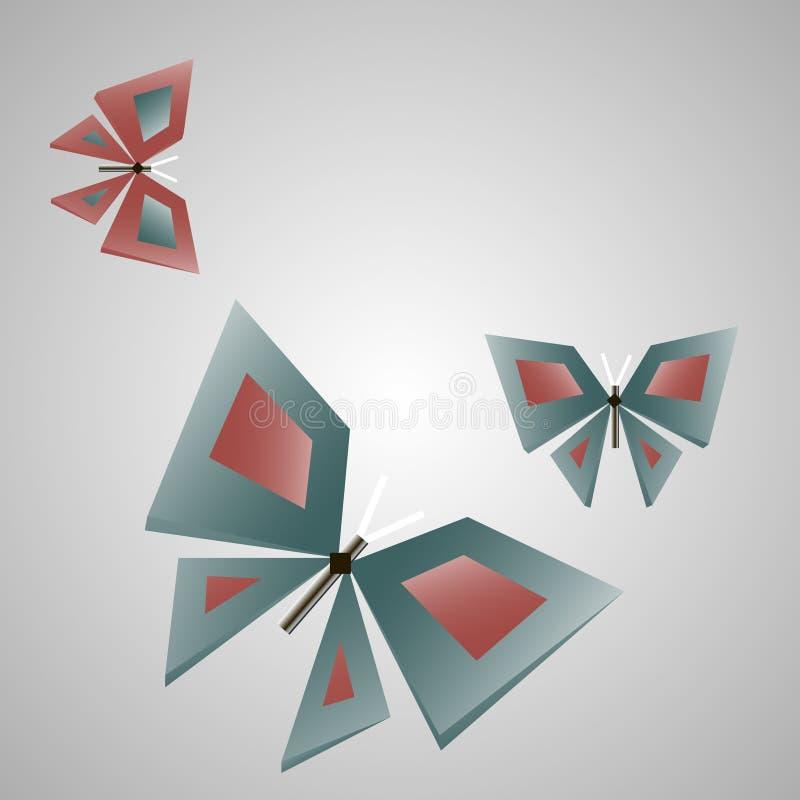 Dekorativt fjärilssymbol för industriellt teknologiskt möblemang royaltyfri illustrationer